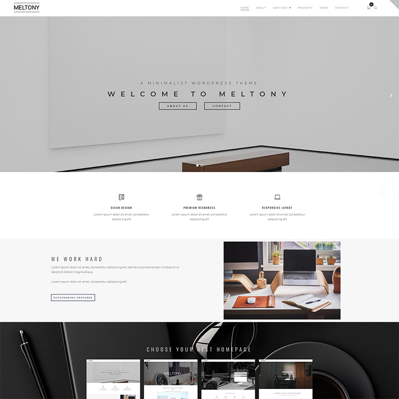 Meltony - Minimalist WordPress Theme for Any Businesses