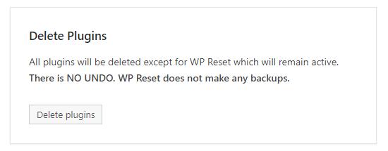 Настройки плагина WP Reset для сброса сайта