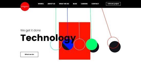 использования асимметричного макета сайта Artegence (веб-дизайн 2020)